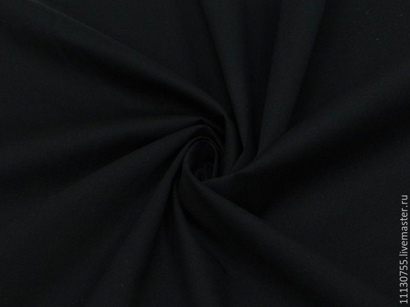 Ткань натуральная хлопок поплин черный со стрейчем, Ткани, Москва,  Фото №1