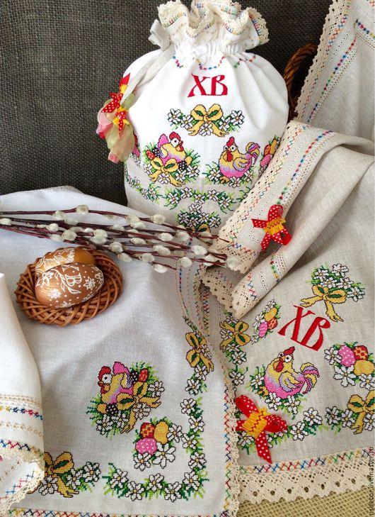 """Текстиль, ковры ручной работы. Ярмарка Мастеров - ручная работа. Купить Пасхальный набор из льна"""" Пасхальные курочки"""" 2. Handmade."""