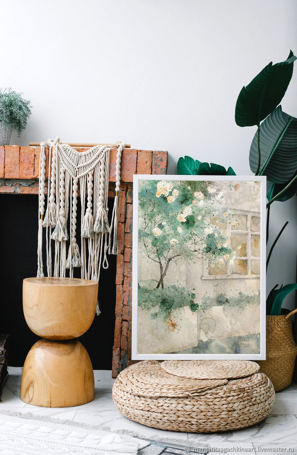 Large watercolor painting Rose bush 60h42 cm (emerald gray white), Pictures, Smolensk,  Фото №1