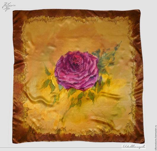 Шелковый платок с авторской росписью батик Золотая роза Подарок девушке женщине мужчине шарф платок палантин шелковый ручная роспись  купить Петербург SilkCreatures shawl scarf silk handmade batik