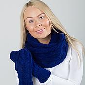 """Аксессуары ручной работы. Ярмарка Мастеров - ручная работа """"Ультрамарин"""", комплект вязаный, шарф снуд вязаный и варежки вязаные. Handmade."""