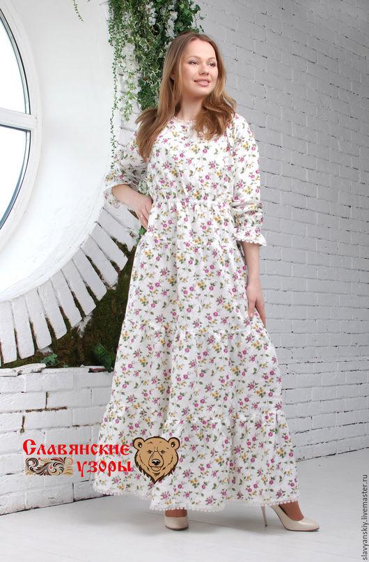 """Платья ручной работы. Ярмарка Мастеров - ручная работа. Купить Платье """"Цветочное"""" (розовые цветы). Handmade. Белый, платье в пол"""
