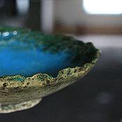 Вазы ручной работы. Ярмарка Мастеров - ручная работа Блюдо керамическое интерьерное Бирюза. Handmade.