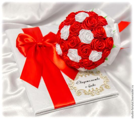 Свадебные аксессуары ручной работы. Ярмарка Мастеров - ручная работа. Купить набор бело красный. Handmade. Ярко-красный