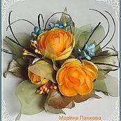 Материалы для творчества ручной работы. Ярмарка Мастеров - ручная работа Видео МК брошь, цветок оранжевые купавки. Handmade.