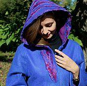 """Одежда ручной работы. Ярмарка Мастеров - ручная работа Валяное пальто """"Переливы синего"""". Handmade."""