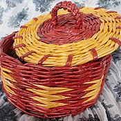 Для дома и интерьера ручной работы. Ярмарка Мастеров - ручная работа Круглая корзиночка с крышкой из газетных трубочек. Handmade.