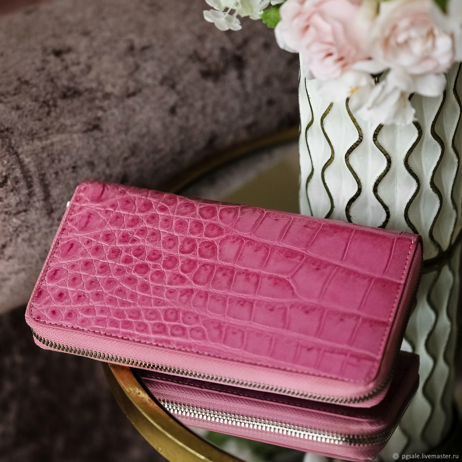 Pink crocodile leather zipper wallet, Wallets, St. Petersburg,  Фото №1