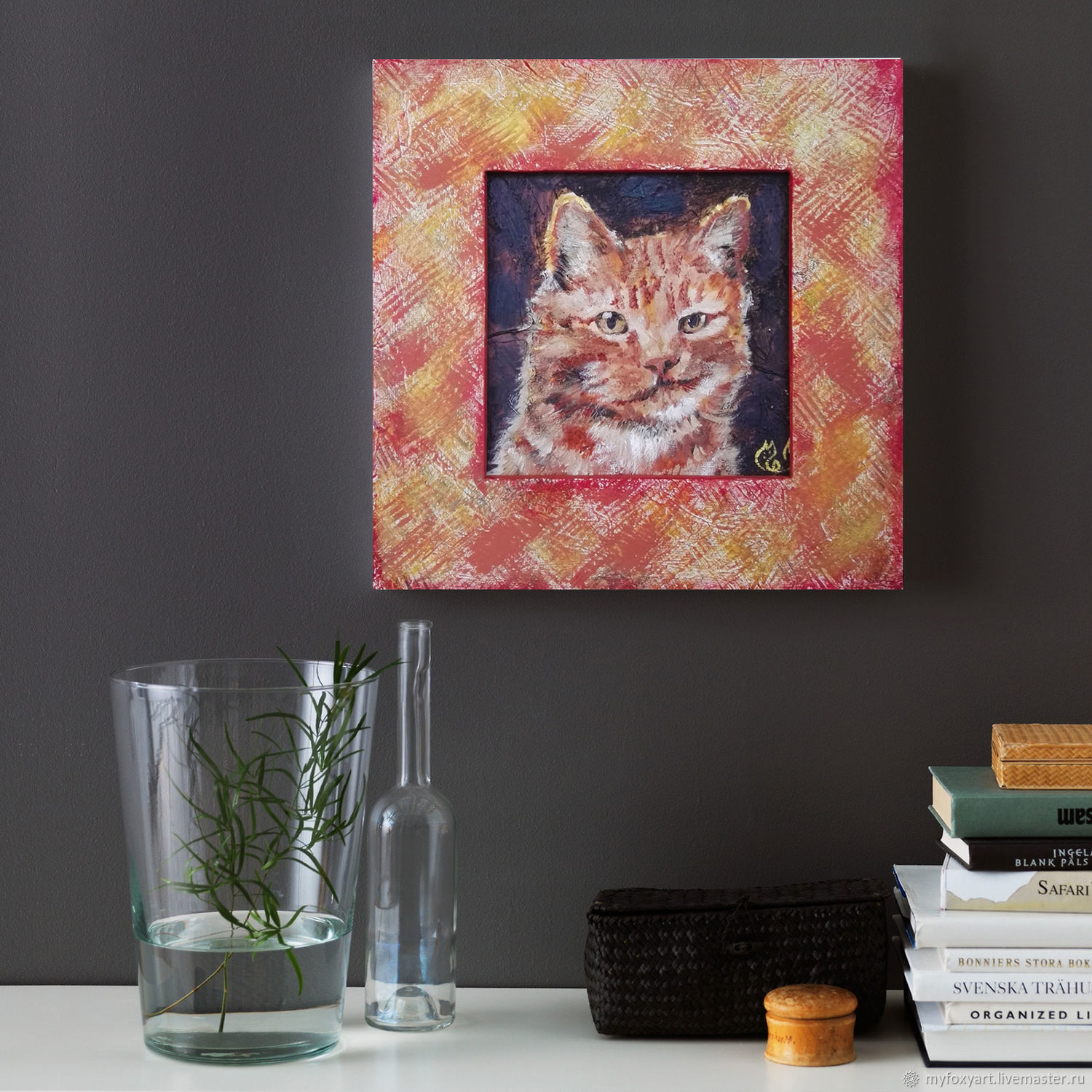 Portrait of a cat, oil painting on canvas, framed, Pictures, St. Petersburg,  Фото №1