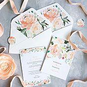 Свадебный салон ручной работы. Ярмарка Мастеров - ручная работа Акварельные цветочные свадебные нежные кремовые приглашения Персик. Handmade.