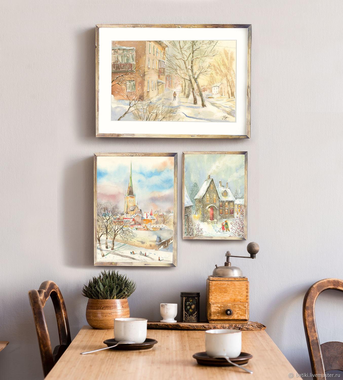 Картины, набор: Волшебная зима. Зимний пейзаж, жикле, акварель, Картины, Санкт-Петербург,  Фото №1