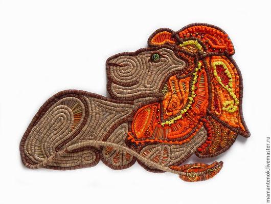 Животные ручной работы. Ярмарка Мастеров - ручная работа. Купить Лев. Handmade. Рыжий, панно со львом, пряжа, бисер