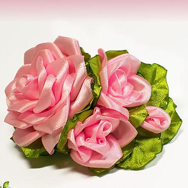 Сувениры и подарки ручной работы. Ярмарка Мастеров - ручная работа Заколка-автомат с атласными розами. Handmade.