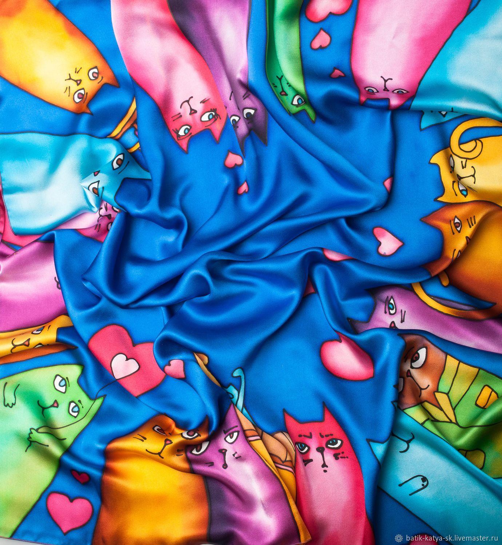 Batik silk scarf 'Catomania. Cats love', Scarves, Moscow,  Фото №1