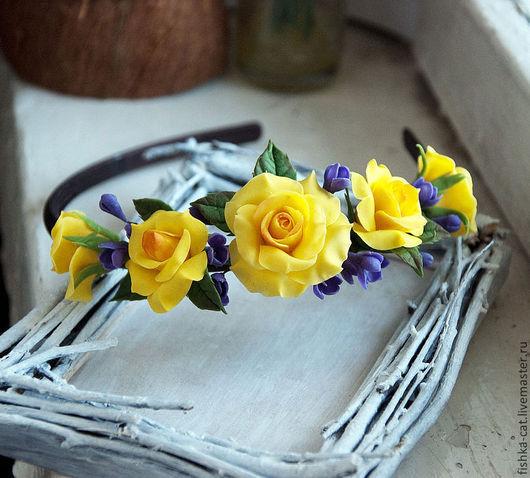 Диадемы, обручи ручной работы. Ярмарка Мастеров - ручная работа. Купить Ободок с желтыми розами. Handmade. Желтый, ободок с цветами