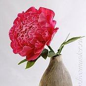"""Цветы и флористика ручной работы. Ярмарка Мастеров - ручная работа Пион полноразмерный """"Весенний поцелуй"""" из полимерной глины. Handmade."""