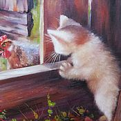 Картины и панно handmade. Livemaster - original item Oil painting with a kitten and a chicken First meeting. Handmade.