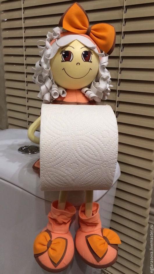 Ванная комната ручной работы. Ярмарка Мастеров - ручная работа. Купить Кукла-держатель для туалетной бумаги. Handmade. Бежевый, кукла
