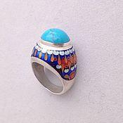Кольцо из серебра 925 пробы и Минанкари с бирюзой