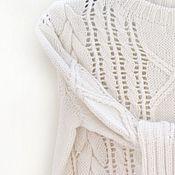 Женский вязаный свитер с косами из кашемира белый молочный