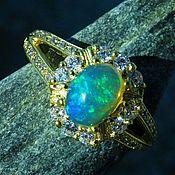 Украшения handmade. Livemaster - original item Gold plated Silver ring with a blue Ethiopian opal. Handmade.