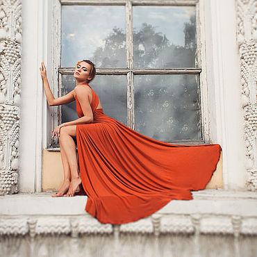 Одежда ручной работы. Ярмарка Мастеров - ручная работа Платье-трансформер в пол с разрезом терракот. Handmade.