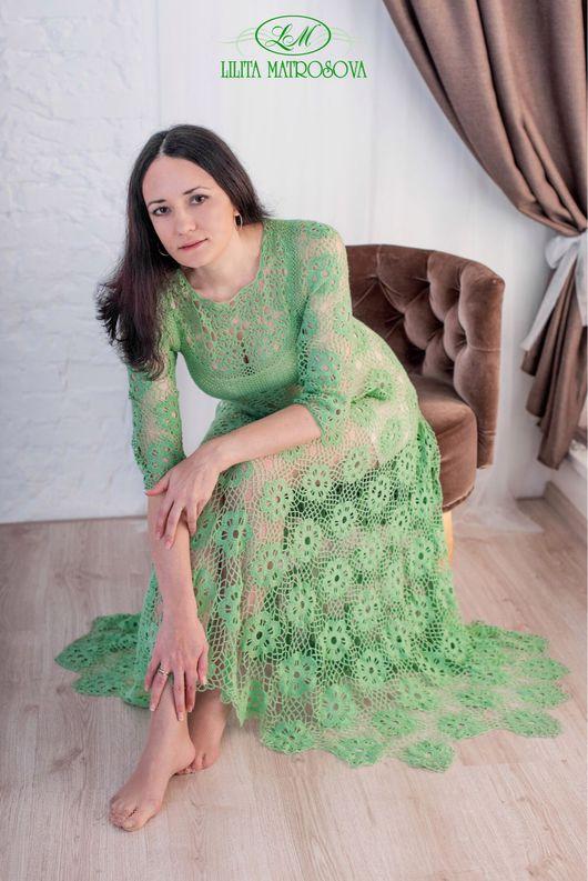 """Платья ручной работы. Ярмарка Мастеров - ручная работа. Купить """"Фисташковое пралине"""" длинное. Handmade. Вязаное платье, кашемир"""