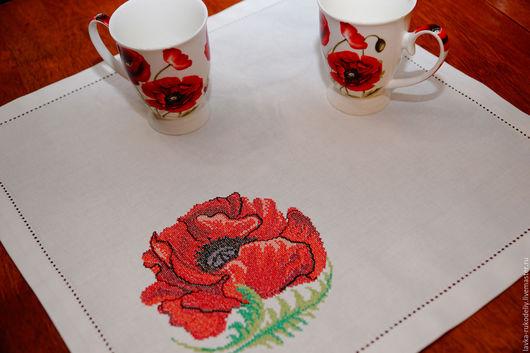 Текстиль, ковры ручной работы. Ярмарка Мастеров - ручная работа. Купить Салфетка столовая. Мак. Handmade. Комбинированный, мак, салфетки