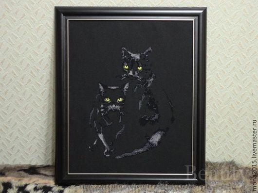 """Животные ручной работы. Ярмарка Мастеров - ручная работа. Купить вышивка крестом """"Кошки"""". Handmade. Черный, Кошки, Глаза, силуэт"""