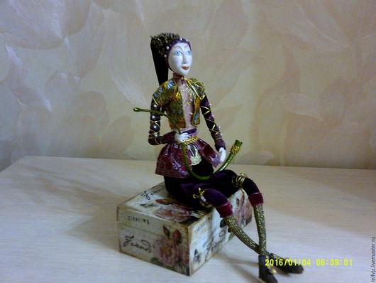 Коллекционные куклы ручной работы. Ярмарка Мастеров - ручная работа. Купить Пастушка с рожком. Handmade. Бордовый, подарок девушке женщине