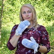 Аксессуары handmade. Livemaster - original item Mittens: Downy openwork mittens with embroidery. Handmade.