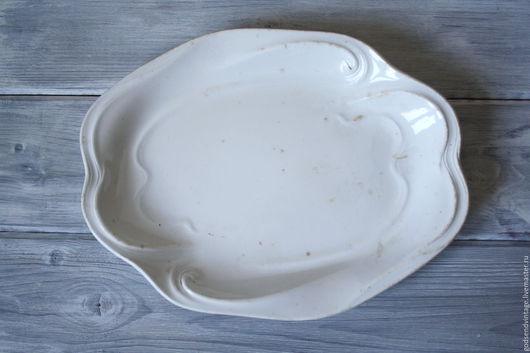 Винтажная посуда. Ярмарка Мастеров - ручная работа. Купить Блюдо с рельефом, фаянс, Песочня, до 1927 года. Handmade. Белый, фаянс