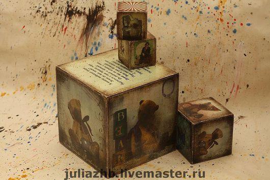 Детская ручной работы. Ярмарка Мастеров - ручная работа. Купить Впервые! Кубики большие - 15 см. Handmade. Кубик, декупаж