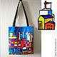 Bags & Accessories handmade. Livemaster - handmade. Buy Bag 'City'.Unisex, blue, print, men's bag, textiles