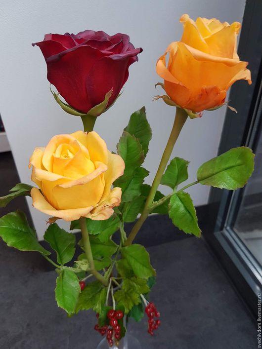 Цветы ручной работы. Ярмарка Мастеров - ручная работа. Купить Роза . Цветы из холодного фарфора .. Handmade. Ярко-красный