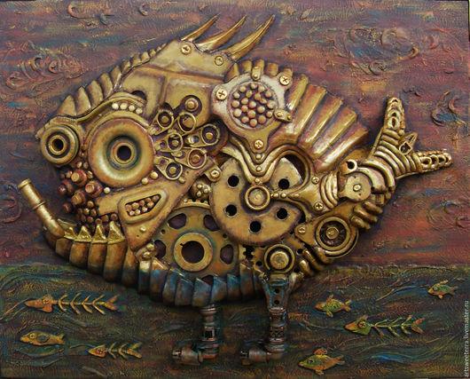 """Животные ручной работы. Ярмарка Мастеров - ручная работа. Купить Стимпанк-панно """"Биомеханическая рыба"""" маленькая. Handmade. Хаки, стимпанк"""