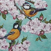 Материалы для творчества handmade. Livemaster - original item Napkins for decoupage Bird on branch Sakura print. Handmade.