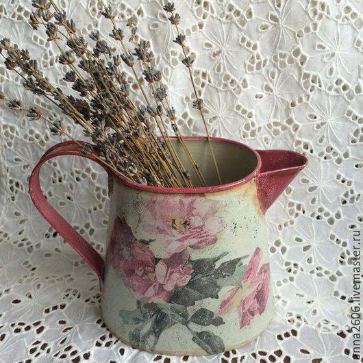 """Кухня ручной работы. Ярмарка Мастеров - ручная работа. Купить Кувшинчик """"Воспоминания.."""". Handmade. Розовый, винтажные розы"""