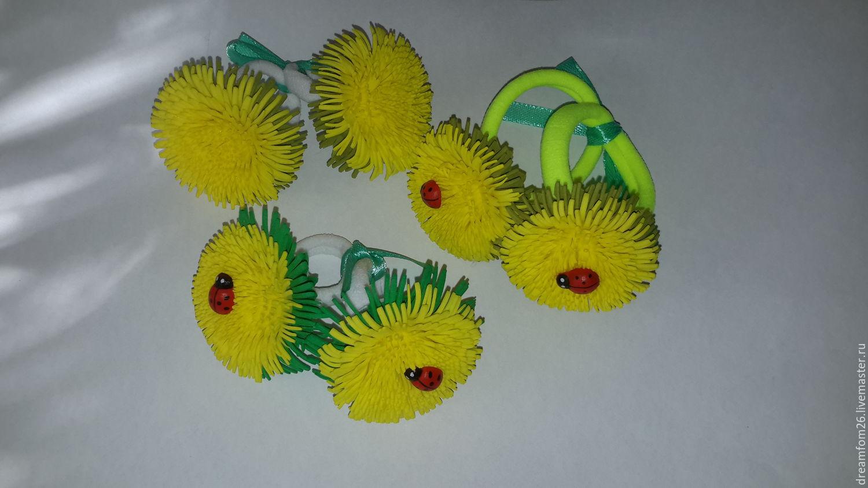 Купить Одуванчики из фоамирана. - желтый, одуванчики, божья коровка, резинка для волос, весна, цветы из фоамирана