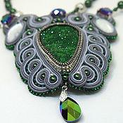 Украшения handmade. Livemaster - original item Soutache necklace with uvarovite and Swarovski crystal
