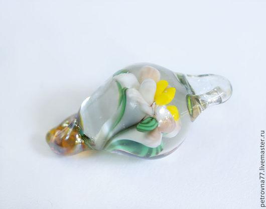 Для украшений ручной работы. Ярмарка Мастеров - ручная работа. Купить Цветочный флакончик - Бусина лэмпворк ручной работы. Handmade.