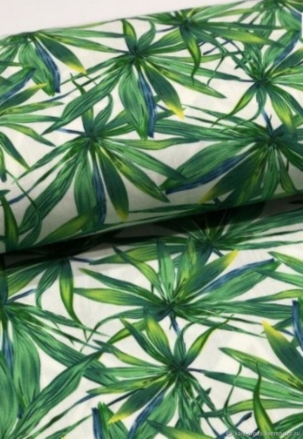 Flax Stretch Green Leaves, Fabric, Moscow,  Фото №1
