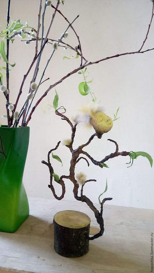 Коллекционные куклы ручной работы. Ярмарка Мастеров - ручная работа. Купить Душа вербы. Handmade. Салатовый, зеленый, проволока, вискоза