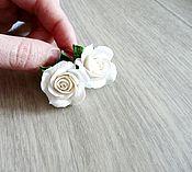 """Украшения ручной работы. Ярмарка Мастеров - ручная работа Серьги """"Белые розы"""". Handmade."""