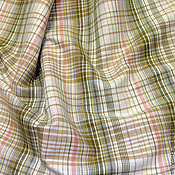 Материалы для творчества ручной работы. Ярмарка Мастеров - ручная работа Ткань льняная зелёная клетка. Handmade.