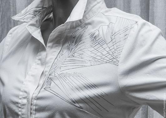 Для мужчин, ручной работы. Ярмарка Мастеров - ручная работа. Купить Серебряные диагонали 2. Handmade. Серебряный, рубашка на заказ