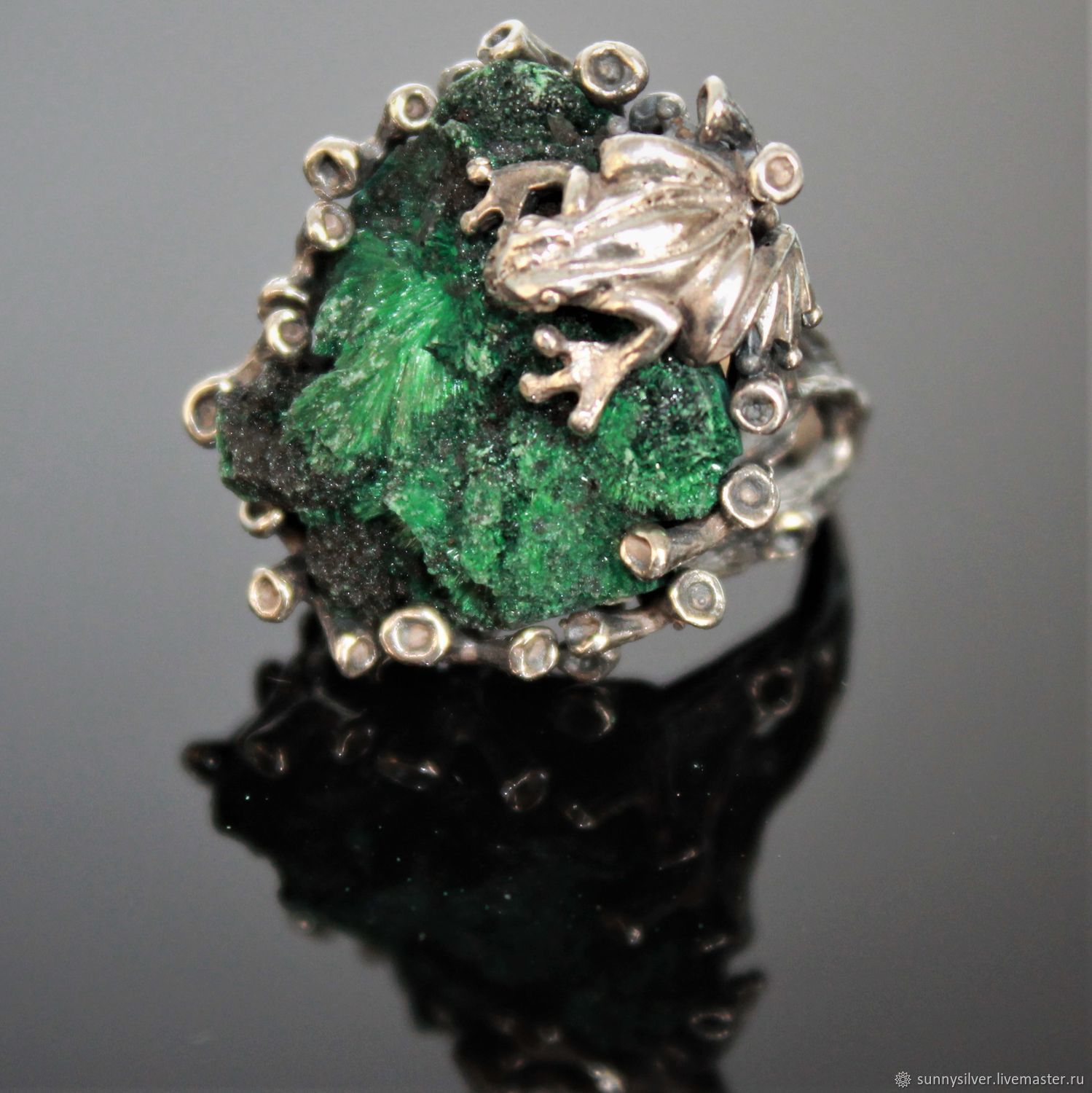 Melanta ring in 925 sterling silver with corduroy malachite, Rings, Yerevan,  Фото №1