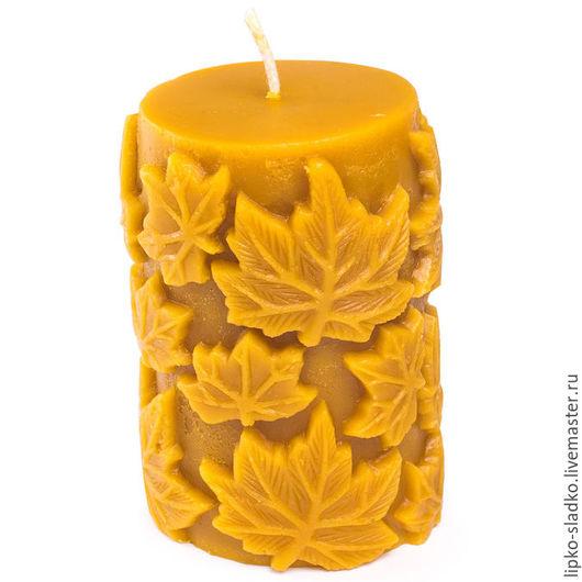 Свечи ручной работы. Ярмарка Мастеров - ручная работа. Купить Свеча Листопад. Handmade. Оранжевый, осень, воск