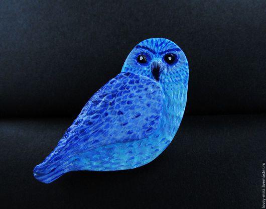 Синяя сова, синяя птица, брошь птица, брошь ручной работы, брошка птичка, синий, сова, совы.