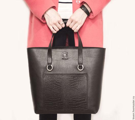 Женские сумки ручной работы. Ярмарка Мастеров - ручная работа. Купить Большая черная кожаная сумка ручной работы с двойными ручками Daria. Handmade.